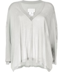 maison margiela batwing sleeve knitted top - grey