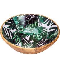 saladeira bon gourmet de madeira leafage verde/madeira - marrom/verde - dafiti