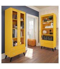 cristaleira retrô 2 portas e 2 gavetas amarela lilies móveis