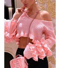 rosa one suéter corto con hombros descubiertos