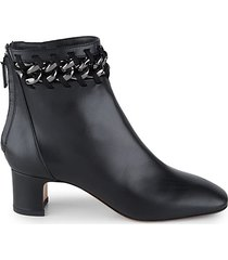 chain-trim leather booties