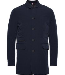 light padded nylon carcoat trenchcoat lange jas blauw tommy hilfiger tailored