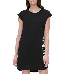 dkny women's french terry logo t-shirt dress - black - size xs