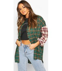 mixed flannel contrast sleeve oversized shirt, green