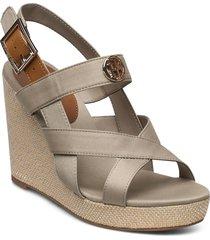 basbasic hardw hi wedge sandal sandalette med klack espadrilles beige tommy hilfiger