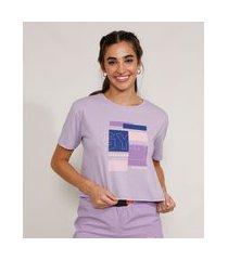 "camiseta feminina manga curta cropped esportiva ace gym"" decote redondo lilás"""