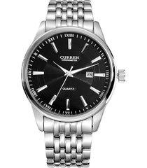 reloj curren 8052 hombres lujo casual cuarzo plateado negro