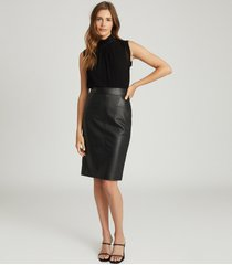 reiss reagan - leather pencil skirt in black, womens, size 12