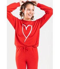rae bold drawstring lounge sweatshirts - red