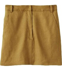 wesson linen high waisted mini skirt in tan ochre
