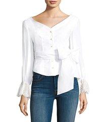eyelet cuff cotton bell-sleeve poplin blouse