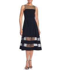 solid illusion neckline dress