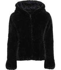 eco fur and nylon reversible down jacket i