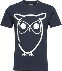 alder basic owl tee - gots/vegan t-shirts short-sleeved blå knowledge cotton apparel