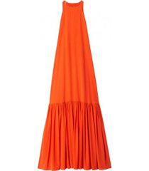 silk long halter dress in blood orange