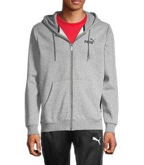puma men's ess fleece full-zip hoodie - grey - size xxl