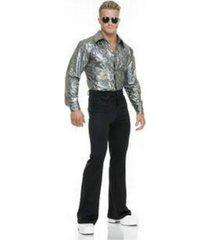 buyseasons men's silver hologram disco shirt