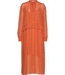 georgette pi er dr jurk knielengte oranje calvin klein