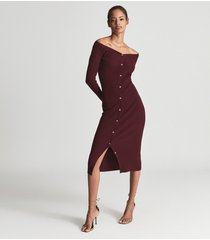 reiss camille - knitted button through midi dress in burgundy, womens, size xl