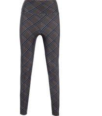 calça feminina legging cós tartan - marrom