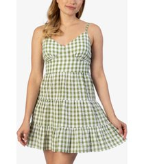 speechless juniors' seersucker gingham fit & flare dress