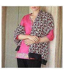 silk shawl, 'triangle attraction in fuchsia' (india)