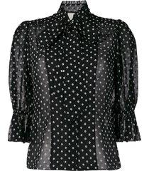 alexis short puffed sleeve polka dot blouse - black