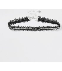 river island womens black lace choker cupchain trim necklace