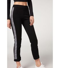 calzedonia side insert cigarette leggings woman black size xl