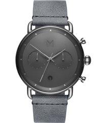 mvmt men's chronograph blacktop silver mist gray leather strap watch 47mm