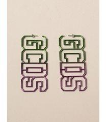 gcds jewel gcds earrings with big shaded metal logo