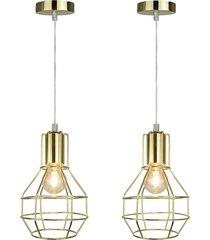 kit 2 pendentes lamp show livanto gold bivolt