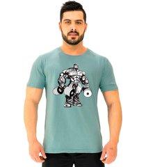 camiseta tradicional gola redonda alto conceito bodybuilder halteres verde beb㪠- verde - masculino - algodã£o - dafiti