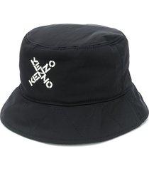 kenzo cross-over logo bucket hat - black