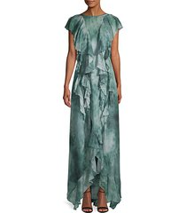 tie-dyed ruffle silk high-low gown