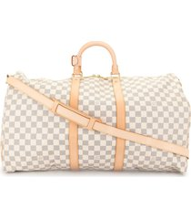 louis vuitton 2007 pre-owned keepall 55 bandouliere travel bag - white