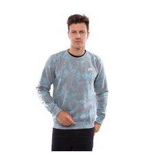 blusa de moletom vida marinha fechado tie dye azul/cinza