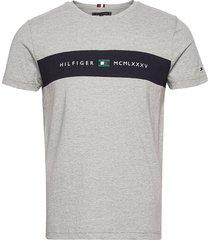 new logo tee t-shirts short-sleeved grå tommy hilfiger