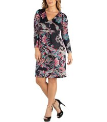 24seven comfort apparel paisley print v-neck long sleeve plus size dress