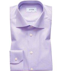 eton overhemd slim fit paars herringbone twill