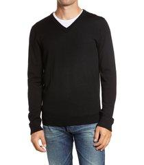men's big & tall nordstrom washable merino v-neck sweater, size xlt - black