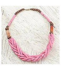 braided bead necklace, 'sosongo in pink' (ghana)