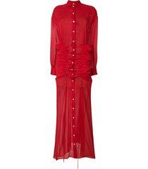 y/project gathered chiffon maxi shirt dress