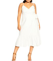 city chic cotton & linen wrap dress, size xx-small in ivory at nordstrom