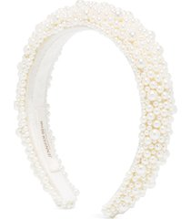 jennifer behr bailey pearl-embellished headband - white
