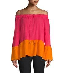 colorblock drawstring blouse