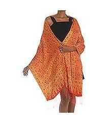 silk shawl, 'serene garden' (indonesia)