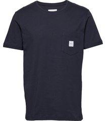 square pocket t-shirt t-shirts short-sleeved blå makia