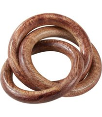 saro lifestyle mango wood napkin ring with interlock design, set of 4