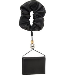 black leather scrunchie wallet
